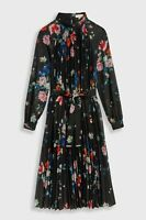 Ted Baker NANIRO Sandalwood Pleated Midi Dress Black UK 6 - Brand New With Tags