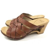 Dansko Troy Clogs Womens Size 38 Woven Brown Leather Slip On Slides Cut Out Heel