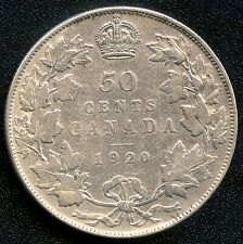 "1920 Canada Silver 50 Cent Piece (Narrow ""0"") 11.66 grams .800 Silver"