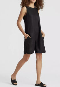 NWT Eileen Fisher Short Jumpsuit Organic Linen SzXS In Black