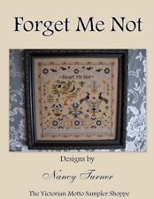 Forget Me Not antique sampler style, cross stitch chart,5 pages,color & symbols