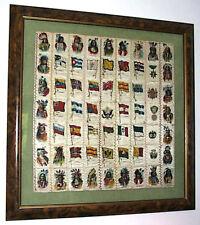 Antique Original 63 Cigarette Silk Premiums Sewn Quilt Indians Flags Framed