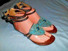 Baby Phat Womens Blue Beaded Calypso Strappy Gladiator Sandals sz. 7M EUC