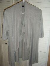 GREEN ENVELOPE MED SHORT SLEEVE GREY SHAWL FRONT SWEATER