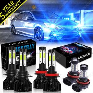 For Honda Accord 2013 2014 2015 Front LED Headlight Hi/Lo Beam + Fog Light Bulbs
