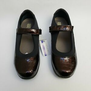 Drew Therapeutic Womens Shoes Mary Janes Croc Brown Rose NWT Size US 10.5 W