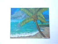 Original Acrylic Painting 11x14 Canvas  Beach Palm Tree Nautical,Coastal Art