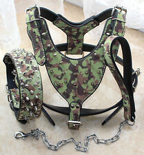 Spiked Studded Dog Collar + Dog Harness + Dog Leash set for medium large dogs