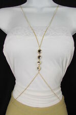 New Women Gold Body Chain Long Necklace Fashion Jewelry 4 Big Silver Rhinestones