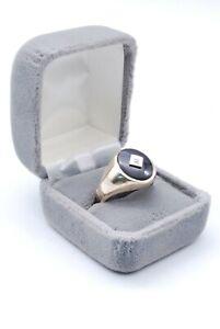 10K Solid Yellow Gold Vintage Retro Diamond & Onyx Ring 11.5 Size 7.4 Grams