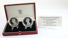 1984 Ascension islands Silver Proof Piedfort coin collection with Box and COA