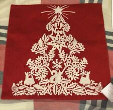 "NWT POTTERY BARN EMBROIDERED CHRISTMAS TREE PILLOW COVER 18"" HOLIDAY"