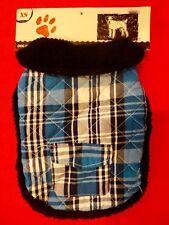 NEW Snuggly Warm Blue Plaid Dog Jacket Size XS Fleece Lined NWT