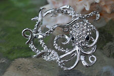 Octopus Toggle Clasp, (T02S) Original Design: silver plated with rhinestones