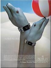 1987  NOBLIA CITIZEN  WATCH : hand Art : parrot , seal & peacock  PRINT AD 4-pg