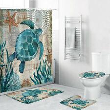 4PCS Sea Turtle Non Slip Toilet Polyester Cover Mat Set Bathroom Shower Curtain