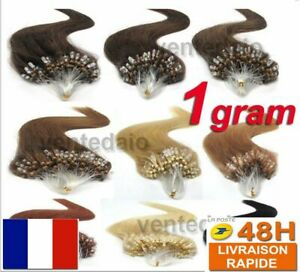 25 50 75 EXTENSIONS DE CHEVEUX POSE A FROID EASY LOOP NATURELS REMY 53CM 1G AAA