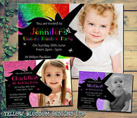 10 Magical Unicorn Personalised Birthday Party Invitations Thank You Girl Pink