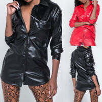 Women Long Sleeve PU Lapel Shirt Solid Botton Coat Sexy Fashion Blouse Long Tops