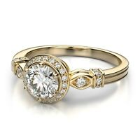 2.98Ct White Diamond Round Cut VVS1 Halo Engagement Ring 14K Yellow Gold Plated