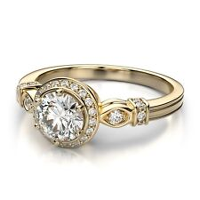 2.88Ct White Diamond Round Cut VVS1 Halo Engagement Ring 14K Yellow Gold Plated