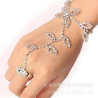 Nice Rhinestone Hand Harness Bracelet Crystal Leaf Slave Chain Link Finger Ring