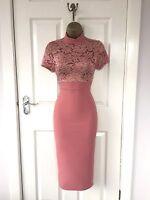 Pink Abend Midi Bleistift Bodycon Blumen Party Wiggle-dress 8 10 12 14