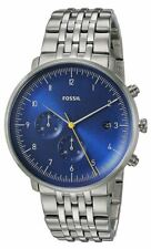 Fossil Men's Chase FS5542 42mm Blue Dial Stainless Steel Watch