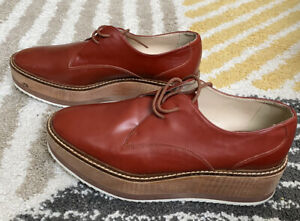 ZARA Wooden Platform Sole Bluchers Oxfords Brown Maroon 37 EU Women's Shoes