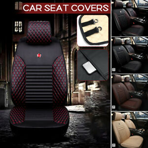 Universal Front Car Seat Cover PU Leather Waterproof Airbag Compatible Red