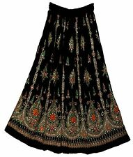 Womens Indian Sequin Crinkle Gypsy Long Skirt Ethnic Hippie Boho Vtg Broomstick