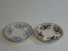 "Gort China, 2 Miniature Plates or Saucers Set, Floral Blue & Purple, 2.5"", Rare!"