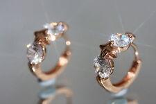 4 x 0.5ct Brilliant Created Diamond Rose Gold GF 1.4cm Rose Gold GF Hoops