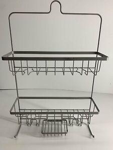 MADE BY DESIGN Shower Caddy NEW Large 2 Baskets 4 Hooks Soap Holder Chrome