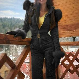 Women Winter Warm Snowsuit Outdoor Hooded Sports Ski Suit Waterproof Thick Pants