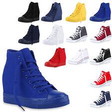 Damen Sneakers Keilabsatz Sneaker-Wedges Trendfarben 816724 Trendy