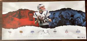 "TOM BRADY Autographed Patriots 6x SB Collage 30"" x 14"" Photograph Poster"