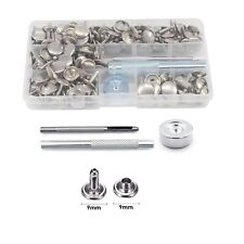 Hand Tool Kit + 9mm 100pcs Double Cap Rivets Brass Silver for Leather craft Bags