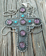 """Large Taxco Sterling, Amethyst & Turquoise Cross Pendant w/29"""" Twist Box Chain"""