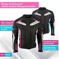 Ladies Women Motorbike Motorcycle CE Armoured Textile Cordura Waterproof Jacket