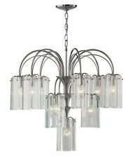 Forecast Lighting Satin Nickel And Clear Beveled Glass 22 Light Chandelier