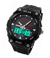 Fanmis Men's Solar Powered Casual Quartz Watch Digital & Analog Multifunctional