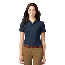 Navy Polo Shirt Ladies Port Authority L510 M Short Sleeve Stain Resistant New