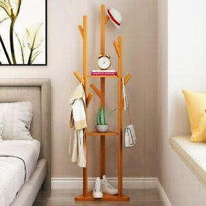 Holz Garderobenständer Kleiderständer Standgarderobe Garderobe Bambus 8 Haken DE