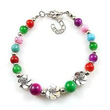 HOT Free shipping New Tibet silver multicolor jade turquoise bead bracelet S67B