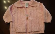 Girls Size 3-6 Months Gymboree  Pink  Cable Knit Sweater Zip Front Long Sleeve