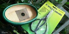 Bonsai Pot & Scissors New 5x3x1.25 in.vintage sea green glaze# 6in scissors ☑