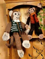 Vintage Knitting Pattern To Make 2 x Toy Monkeys. DK & Chunky Yarn.