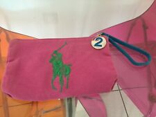 Ralph Lauren Pink Make Up Bag Green Embroidery