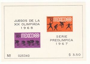 MEXICO 1967 Sc#985a PRE-OLYMPICS IMPERF. M.S. OF 2 MNH
